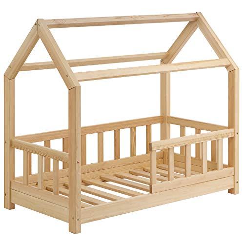 Schönes Kinderbett 70x140 cm mit Rausfallschutz - Hausbett für Kinder aus Holz im skandinavischen Haus Stil...