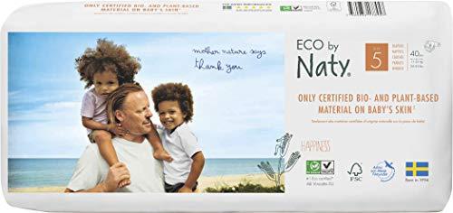Eco by Naty, Größe 5, 80 Windeln, 11–25kg, pflanzliche Premium-Bio‑Windeln mit 0% Plastik auf der Haut