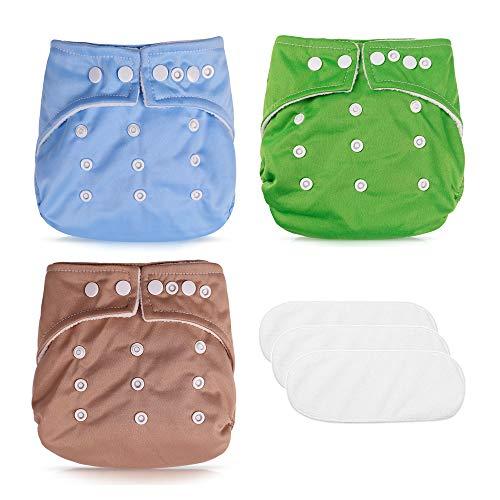 3pcs Baby Höschenwindeln Stoffwindel Trainingshose wiederverwendbar verstellbsr mit 3 Einlagen...