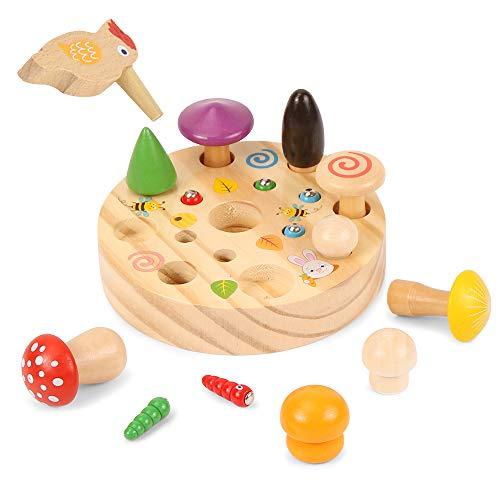 Specht Raupen Fangen Spiel, Holzspielzeug Montessori, Sortierspiel Lernspielzeug, Specht Pilzernte Spiel,...
