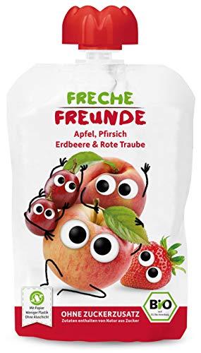 Freche Freunde Bio Quetschie Apfel, Pfirsich, Erdbeere & rote Traube, Fruchtmus im Quetschbeutel für Babys ab...