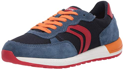Geox J ALBEN Boy D Sneaker, Blau (Avio/Red C4327), 36 EU