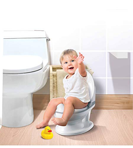 Nuby My Real Potty Töpfchen mit Spülgeräusch, Toilettentrainer Für Kinder ab 18 Monaten, grau