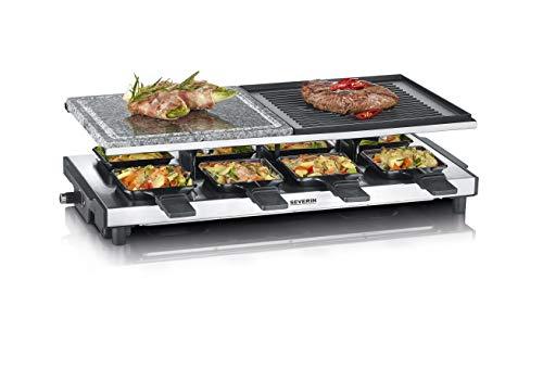 SEVERIN Raclette-Grill mit Naturgrillstein und Grillplatte, Raclette mit antihaftbeschichteter Grillplatte,...