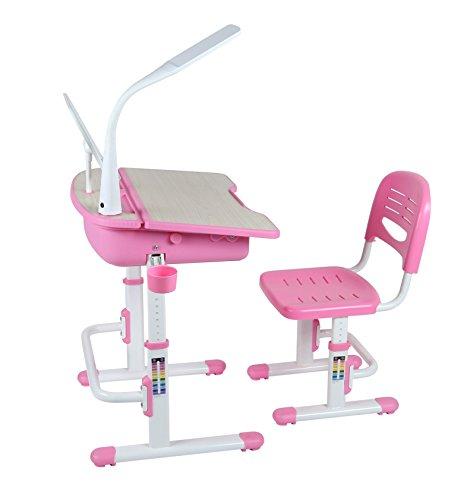 Leomark Ergonomisch SMART Kinderschreibtisch - Pinke Farbe - Schreibtisch mit Schublade und Stuhl...