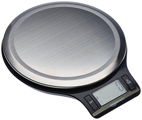 Amazon Basics Digitale Küchenwaage mit LCD-Anzeige (mit Batterien), Edelstahl, BPA-frei