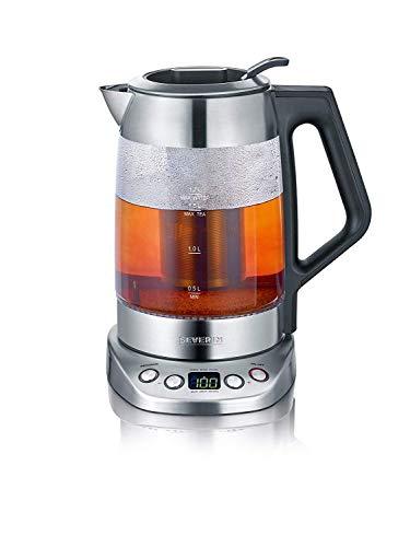 SEVERIN Glas-Tee-/Wasserkocher Deluxe, Mit Temperaturregler (Für 1,7 L Wasser/1,5 L Tee, ca. 3.000 W, WK...