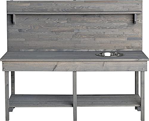 Mega Holz Kinder Outdoor Gartenküche Grau Outdoor +, Holz, Matschküche mit Edelstahlschüssel und Ablage,...