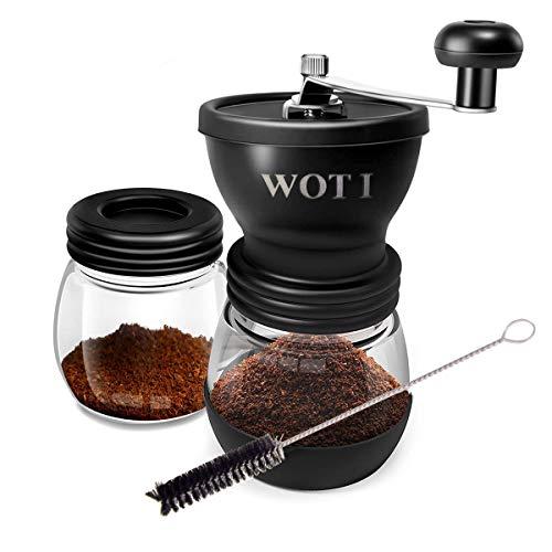 WOT I Kaffeemühle Manuell aus Glas mit Keramikmahlwerk Verstellbaren Hand-Kaffeemühle Geschenkverpackung...