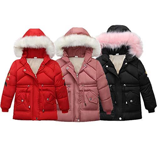 Dasongff Kinder Mädchen Jungen Baby Kinderjacke Mädchen Winterjacke mit Kapuzen Pelzkragen Warm Daunenjacke