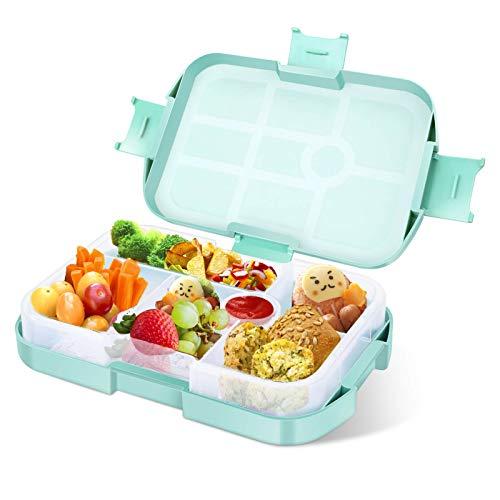 Lunchbox Kinder Bento Box, Brotdose mit 6 Unterteilungen Fächern, Robust und Auslaufsicher Brotzeitbox für...