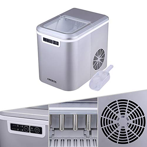 AREBOS Eiswürfelmaschine | 12kg/24h | 8 Minuten Produktionszeit | 2 Eiswürfel-Größen | 2.2L...