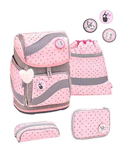 Belmil ergonomischer Schulrucksack Schulranzen Set 5 -teilig für Mädchen 1-4 Klasse Grundschule mit Patch...