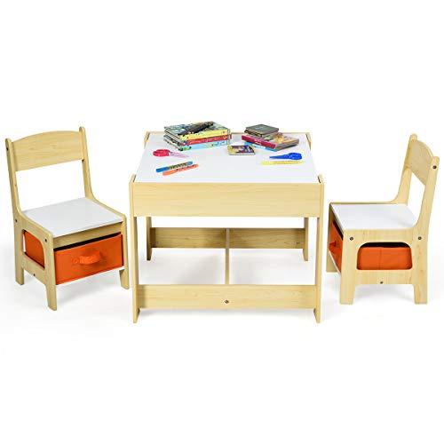 GOPLUS 3tlg. Kindersitzgruppe, 1 Kindertisch mit 2 Stühle, Kindermöbel Set Holz, Sitzgruppe für...