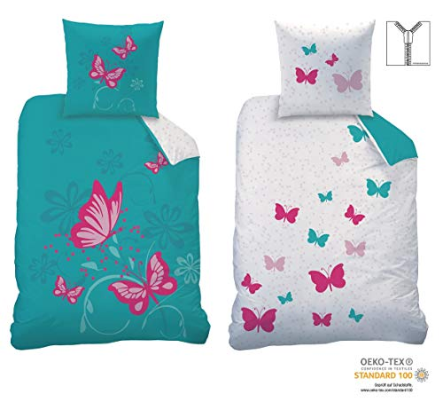 CTI Wende-Bettwäsche Set Butterfly Größe 135 x 200cm 80 x 80cm 100% Baumwolle Linon türkis pink...