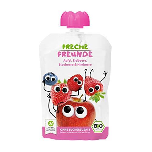 FRECHE FREUNDE Bio Quetschie Apfel, Erdbeere, Blaubeere & Himbeere, Fruchtmus im Quetschbeutel für Babys ab...