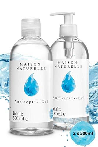 MAISON NATURELLE® – Desinfektionsmittel Hand (2 x 500 ml) – Mit hohem Ethanol-Gehalt - Desinfektion...