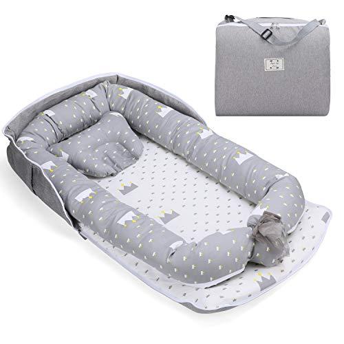 Fascol Babynest Tragbar Kuschelnest mit Kissen, Babynestchen 100% Baumwolle, Nestchen Reisebett für Babys