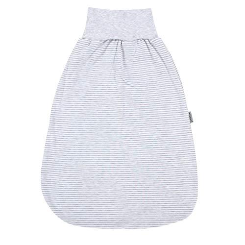 TupTam Unisex Baby Strampelsack mit breitem Bund Unwattiert, Farbe: Streifenmuster Grau/Melange, Größe: 0-6...