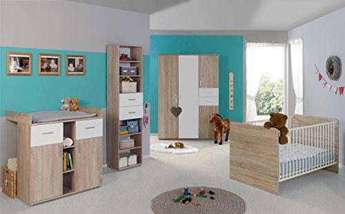 Babyzimmer Komplettset/Kinderzimmer komplett Set ELISA verschiedene Varianten in Eiche Sonoma/Weiß (ELISA 4)