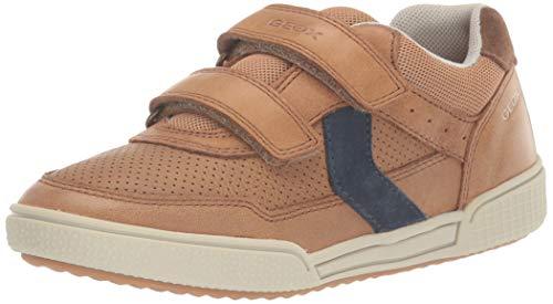 Geox Jungen J Poseido Boy A Sneaker, Braun (Cognac/Blue C6n4e), 32 EU