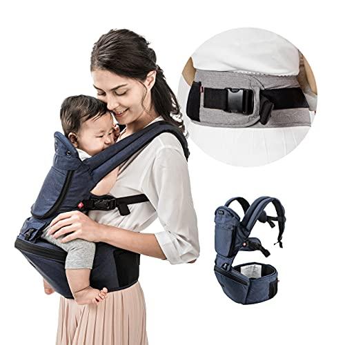 MiaMily Hipster Plus 6 in 1 Babytrage mit Hüftsitz, Neugeborene bis Kleinkind, Ergonomische Babytragesystem,...