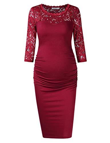 KOJOOIN Damen umstandskleid Schwangerschaftskleid,Lange ärmel elegentes Kleid Knielang(Verpackung...