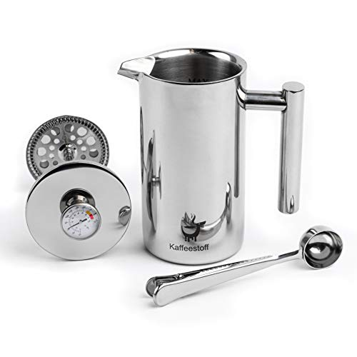 Kaffeestoff French Press mit Thermometer | Kaffeebereiter French Press Edelstahl für 3 Tassen 0,7 l | Coffee...