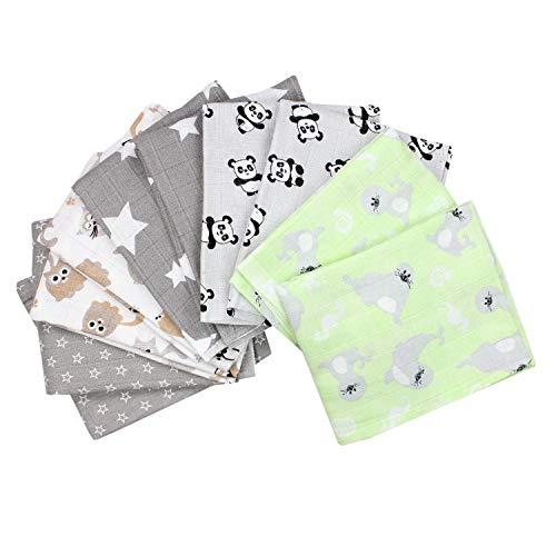 TupTam Baby Mullwindeln Spucktücher 70x80 5er / 10er Pack, Farbe: Unisex 2, Anzahl der Teile:: 10er Pack