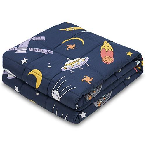 RECYCO Kinder Gewichtsdecke 2,3kg 90x120cm Schwere Decke aus Baumwolle mit Glasperlen Therapiedecke...