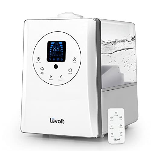 Levoit Ultraschall Luftbefeuchter 6L, 70 m² Humidifier 32dB leise mit Warm/Kalt Dampf 1-12H Timer,...