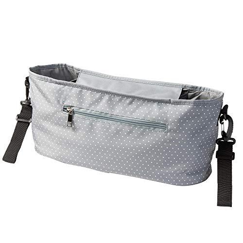 Kinderwagen Buggy Organizer mit Mini Punkten grau (Farbe & Motiv wählbar) I praktische Kinderwagentasche zum...