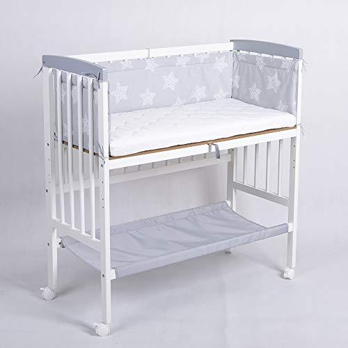 Beistellbett Babybett 90x40 höhenverstellbar mit Matratze Kinderbett weiß 52380W-D02