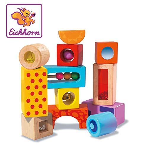 Eichhorn Holz-Soundbausteine, 12 bunt bedruckte Klangbausteine mit verschiedenen Geräuschen, Bausteine aus...