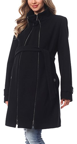 Be Mammy Damen Umstandsmantel Wolle Wintermantel BE20-225 (Schwarz, 38)