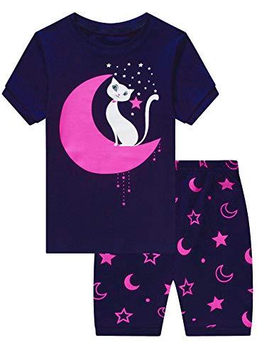 Mixidon Mädchen Schlafanzug, Sommer, kurze Sets, Nachtwäsche, 100% Baumwolle, Kleinkind-Pyjama,...