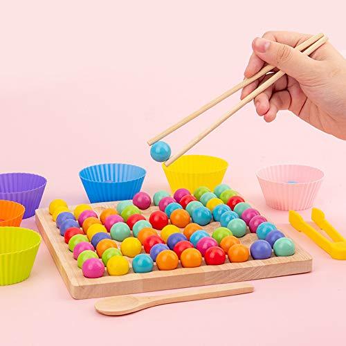 KANUBI Holz Clip Bead Brettspiel, Montessori pädagogische Holzspielzeug, Clip Bead Spiel Puzzle Board, Holz...