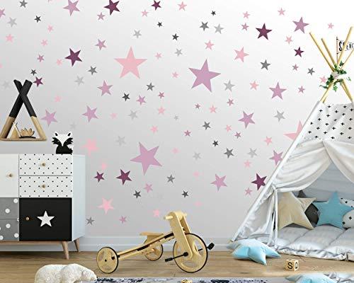 75 Sterne Wandtattoo fürs Kinderzimmer - Wandsticker Set - Pastell Farben, Baby Sternenhimmel zum Kleben...