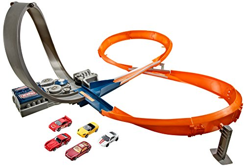 Hot Wheels X2586 Rennstrecke mit 8er-Kurve, motorisiertes Trackset für Spielzeugautos inkl. 5 Spielzeugautos,...