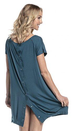 HAPPY MAMA Damen Geburtskleid Krankenhaus Umstands Nachthemd Stillfunktion. 097p (Flaschengrün, 44-46, XL)