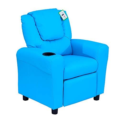 HOMCOM Kindersessel, Minisessel, Kindersofa für 3-6 Jahre alt, Liegefunktion, Eingebauten Becherhalter, Blau,...