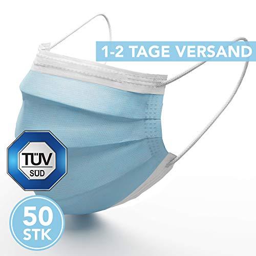 Medizinische Mundschutz Maske - TYP II TÜV zertifizierte Schutzmasken - 50 Stück 3-lagige Gesichtsmaske nach...