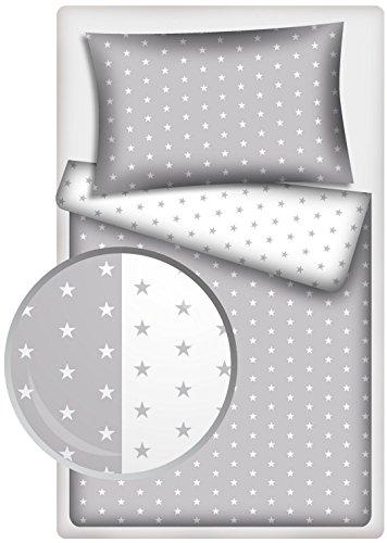 Kinderbettwäsche Stars 2-tlg. 100% Baumwolle 40x60 + 100x135 cm mit Reißverschluss (Stars grau/Stars weiss)