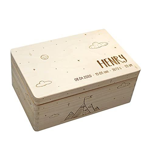 Personalisierte Erinnerungsbox Box Aufbewahrungsbox Erinnerungskiste mit Namen Holzkiste für Kinder...