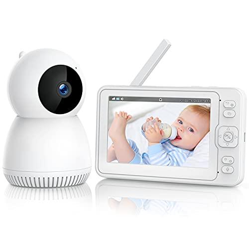 Babyphone mit Kamera 1080P, Video Baby Monitor mit 5'' LCD Geteilter Bildschirm, Infrarot-Nachtsicht, 3600mAh...