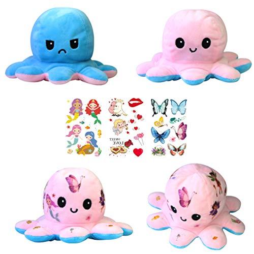 Huaxu Octopus Plüschtier,Oktopus Plüsch Wenden,Reversible Plush Octopus Plüschfigur,Stimmungs...