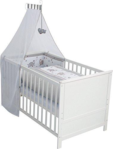 roba Komplettbett Set 'Jumbotwins', Babybett weiß mit Ausstattung, Kombi Kinderbett 70x140cm inkl....