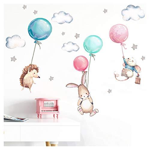 Little Deco Wandtattoo Babyzimmer Tiere & Luftballons I Wandbild 106 x 67 cm (BxH) I Hase Igel Sterne...