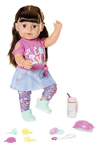 Zapf Creation 827185 BABY born Soft Touch Sister brünett Puppe mit Funktionen und Zubehör, 43 cm
