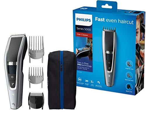 Philips HC5630/15 Haarschneidemaschine für Zuhause mit 28 Längeneinstellungen, 3 Kammaufsätzen, Turbo Modus...